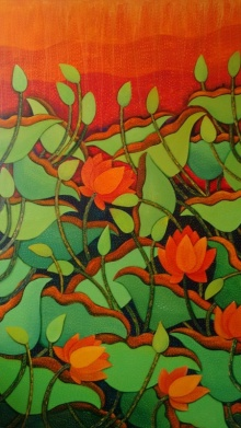 Nature Acrylic Art Painting title 'Nature' by artist Sadaf Beg Khan