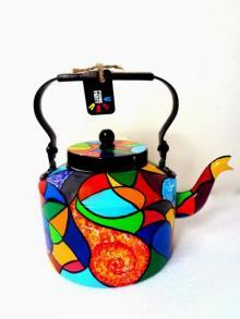 Rithika Kumar | Color Patch Tea Kettle Craft Craft by artist Rithika Kumar | Indian Handicraft | ArtZolo.com
