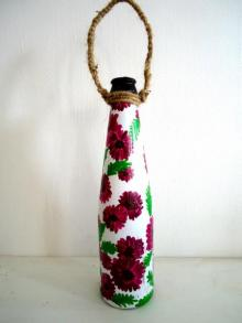 Rithika Kumar | Bottle Planter Magenta Craft Craft by artist Rithika Kumar | Indian Handicraft | ArtZolo.com