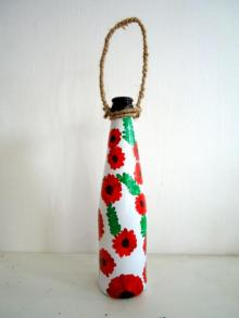 Rithika Kumar | Bottle Planter Red Craft Craft by artist Rithika Kumar | Indian Handicraft | ArtZolo.com
