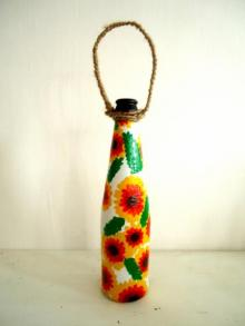 Bottle Planter - Yellow And Orange | Craft by artist Rithika Kumar | Recycled Glass