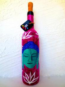 Shades Of Buddha Hand Painted Glass Bottles | Craft by artist Rithika Kumar | Recycled Glass
