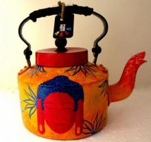 Rithika Kumar | Shades Of Buddha Yellow Tea Kettle Craft Craft by artist Rithika Kumar | Indian Handicraft | ArtZolo.com