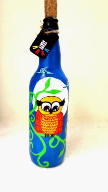 Midnight Owl Hand Painted Glass Bottles | Craft by artist Rithika Kumar | Recycled Glass
