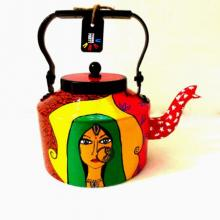 Lady in Green Tea Kettle | Craft by artist Rithika Kumar | Aluminium
