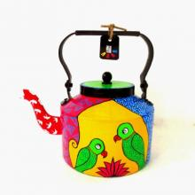 Parrot Pair Tea Kettle | Craft by artist Rithika Kumar | Aluminium