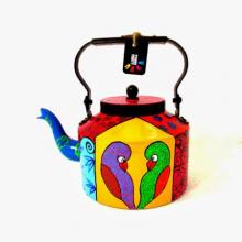 Color Birds Tea kettle | Craft by artist Rithika Kumar | Aluminium