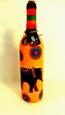 Elephant Tales Hand Painted Glass Bottles | Craft by artist Rithika Kumar | Recycled Glass