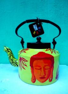 Shades of Buddha Green Tea Kettle | Craft by artist Rithika Kumar | Aluminium