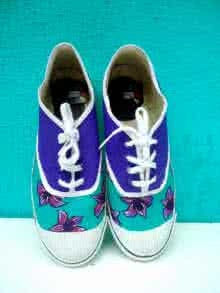 Rithika Kumar | Purple Flower Hand Painted Shoe Craft Craft by artist Rithika Kumar | Indian Handicraft | ArtZolo.com