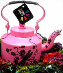 Rithika Kumar | Hand Pink Tea Kettle Craft Craft by artist Rithika Kumar | Indian Handicraft | ArtZolo.com
