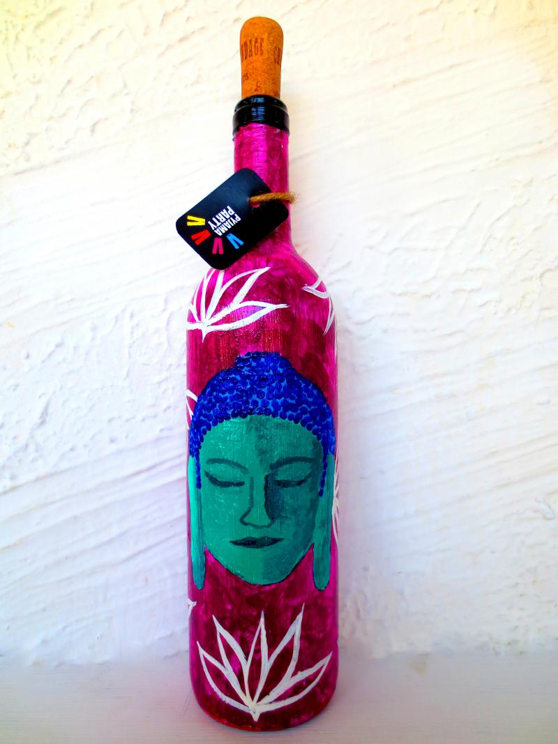 Shades Of Buddha Hand Painted Glass Bottles Lifestyle On Recycled Glass Handicraft