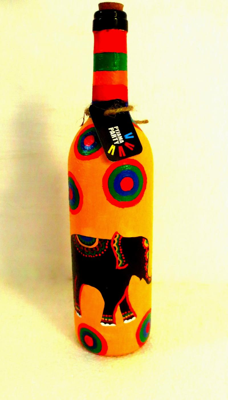 Elephant Tales Hand Painted Glass Bottles Lifestyle On Recycled Glass Handicraft