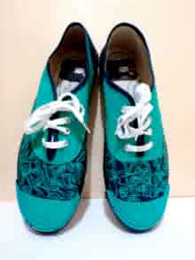 Sea Green Hand Painted Shoe | Craft by artist Rithika Kumar | Canvas