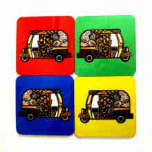 Rithika Kumar | Rickshaw Coasters Craft Craft by artist Rithika Kumar | Indian Handicraft | ArtZolo.com