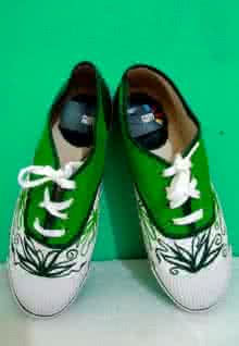 Green Flower Hand Painted Shoe | Craft by artist Rithika Kumar | Canvas
