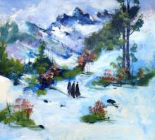 AYAAN GROUP Paintings | Landscape Painting - Snowy Affair by artist AYAAN GROUP | ArtZolo.com