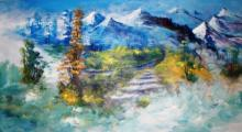 AYAAN GROUP Paintings | Landscape Painting - Valley Trail by artist AYAAN GROUP | ArtZolo.com