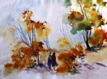 AYAAN GROUP | Watercolor Painting title Landscape on Paper | Artist AYAAN GROUP Gallery | ArtZolo.com