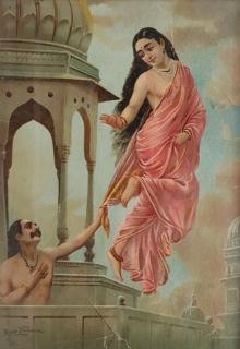 Figurative Oleograph Art Painting title 'Apsara Urvashi And King Pururavas' by artist Raja Ravi Varma