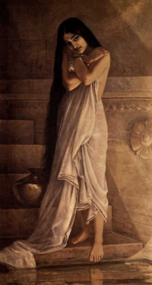 Figurative Oil Art Painting title 'At The Bath' by artist Raja Ravi Varma Reproduction