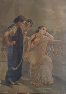 Figurative Oleograph Art Painting title 'Damayanti' by artist Raja Ravi Varma