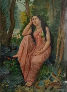 Figurative Oleograph Art Painting title 'Damayanti Vanavas' by artist Raja Ravi Varma