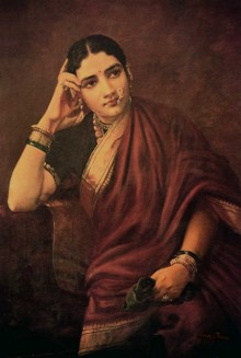 Figurative Oil Art Painting title 'Expectation' by artist Raja Ravi Varma Reproduction