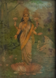 Religious Oleograph Art Painting title 'Gajalakshmi' by artist Raja Ravi Varma