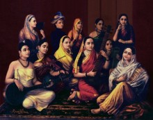 Figurative Oil Art Painting title 'Galaxy Of Musicians' by artist Raja Ravi Varma Reproduction