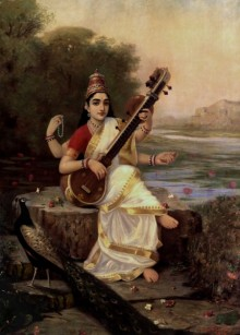 Figurative Oil Art Painting title 'Goddess Saraswathi' by artist Raja Ravi Varma Reproduction