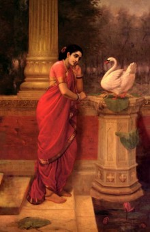 Figurative Oil Art Painting title 'Hamsadamayanthi' by artist Raja Ravi Varma Reproduction