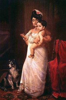 Figurative Oil Art Painting title 'Here Comes Papa' by artist Raja Ravi Varma Reproduction