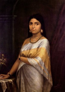 Raja Ravi Varma Reproduction | Oil Painting title Kerala Royal Lady on Canvas | Artist Raja Ravi Varma Reproduction Gallery | ArtZolo.com