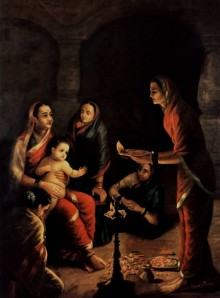 Raja Ravi Varma Reproduction | Oil Painting title Krishna Drista on Canvas | Artist Raja Ravi Varma Reproduction Gallery | ArtZolo.com