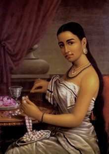 Figurative Oil Art Painting title 'Lady Making Garland' by artist Raja Ravi Varma Reproduction