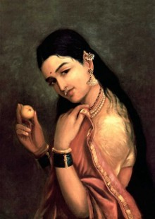 Figurative Oil Art Painting title 'Lady With Lemon' by artist Raja Ravi Varma Reproduction