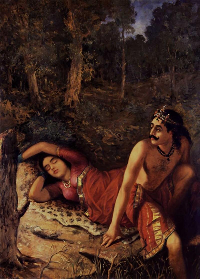 Nala And Damayanthi By Artist Raja Ravi Varma Reproduction