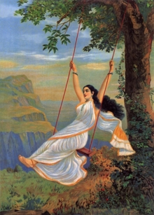 Raja Ravi Varma | Oil Painting title Mohini On Swing on Canvas | Artist Raja Ravi Varma Gallery | ArtZolo.com