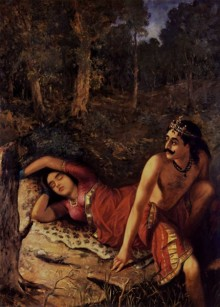 Figurative Oil Art Painting title 'Nala And Damayanthi' by artist Raja Ravi Varma Reproduction