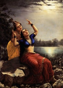 Figurative Oil Art Painting title 'Radha And Madhav' by artist Raja Ravi Varma Reproduction