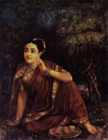 Figurative Oil Art Painting title Radha Waiting For Krishna In Kunjavan by artist Raja Ravi Varma Reproduction
