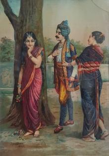 Figurative Oleograph Art Painting title 'Ritudhwaj Meets Madalasa' by artist Raja Ravi Varma