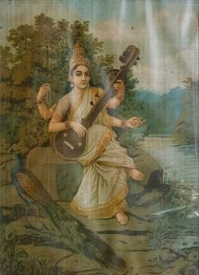 Religious Oleograph Art Painting title Saraswati 7 by artist Raja Ravi Varma