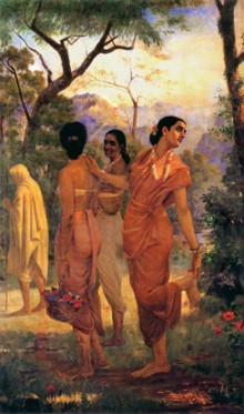 Figurative Oil Art Painting title 'Shakumthala Looks Of Love' by artist Raja Ravi Varma Reproduction