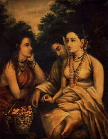 Figurative Oil Art Painting title 'Shakumthala Patralekhan' by artist Raja Ravi Varma Reproduction