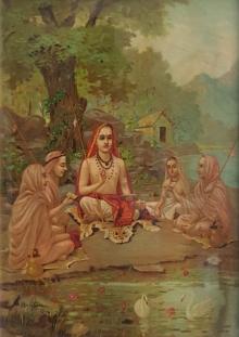 Religious Oleograph Art Painting title 'Shrimad Guru Adi Shankaracharya' by artist Raja Ravi Varma
