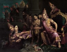 Sita Bhoomipravesh | Painting by artist Raja Ravi Varma Reproduction | oil | Canvas