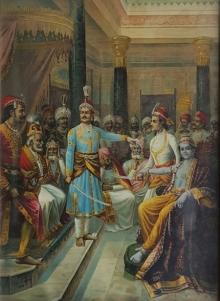 Religious Oleograph Art Painting title 'Sri Krishna As Envoy' by artist Raja Ravi Varma