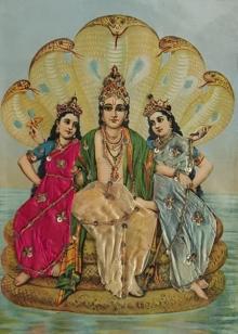 Religious Oleograph Art Painting title Vishnu With Consorts by artist Raja Ravi Varma
